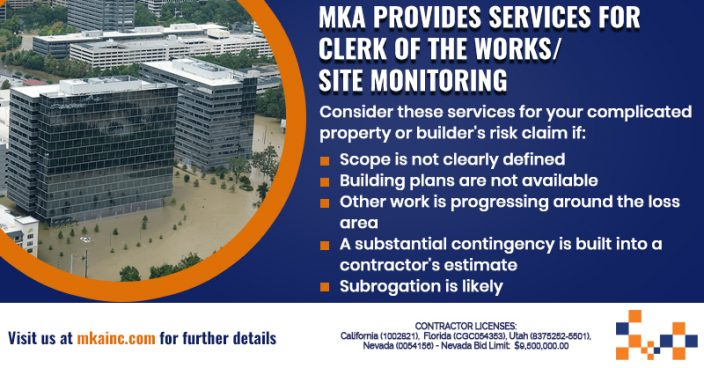 MKA offers Clerk of the Works/ Site Monitoring
